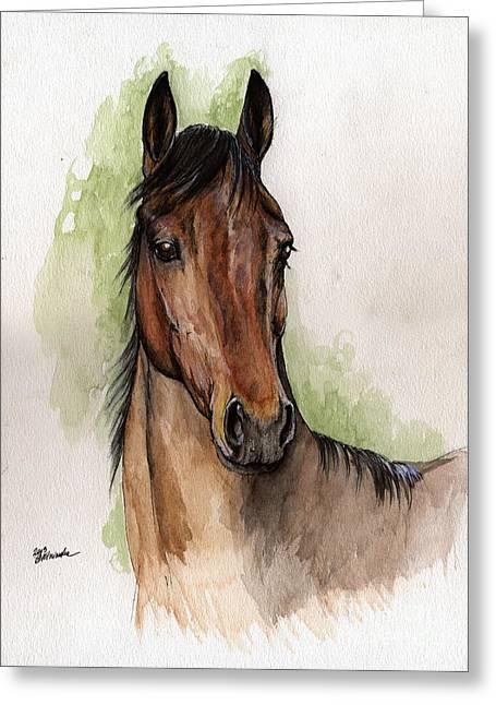 Bay Horse Portrait Watercolor Painting 02 2013 Greeting Card by Angel  Tarantella