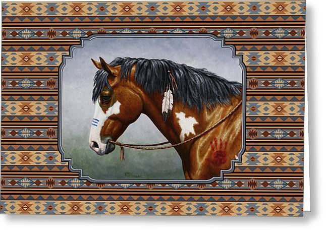 Bay Horse Greeting Cards - Bay Native American War Horse Southwest Greeting Card by Crista Forest