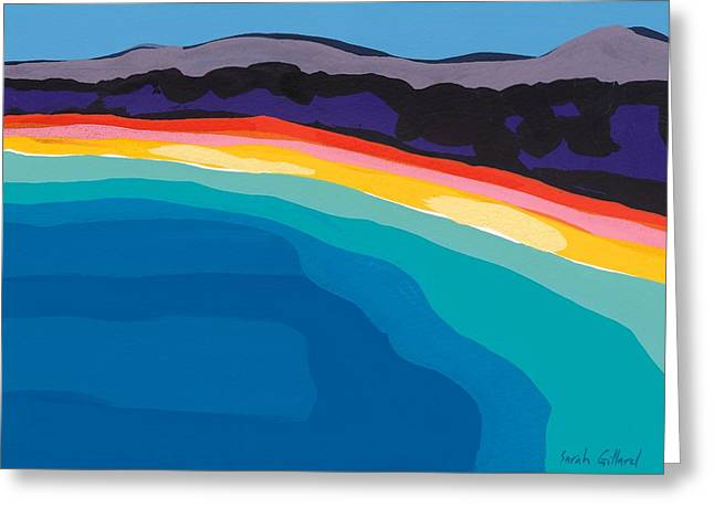 Gouache Abstract Greeting Cards - Bay of Angels Greeting Card by Sarah Gillard