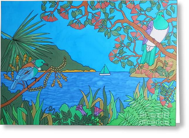 Island Tapestries - Textiles Greeting Cards - Bay Of Islands Paradise Greeting Card by Joanne  Oram