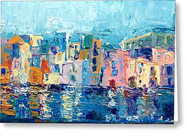 Reflections Of Sky In Water Greeting Cards - Bay Of Naples Greeting Card by Adriana Dziuba
