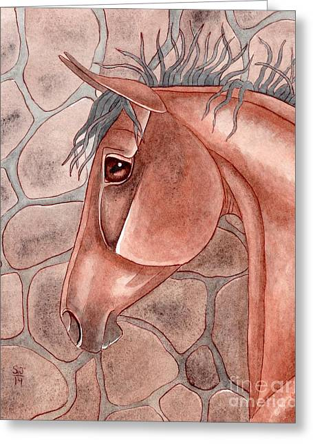 Quarter Horses Mixed Media Greeting Cards - Bay Over Stone Greeting Card by Suzanne Joyner