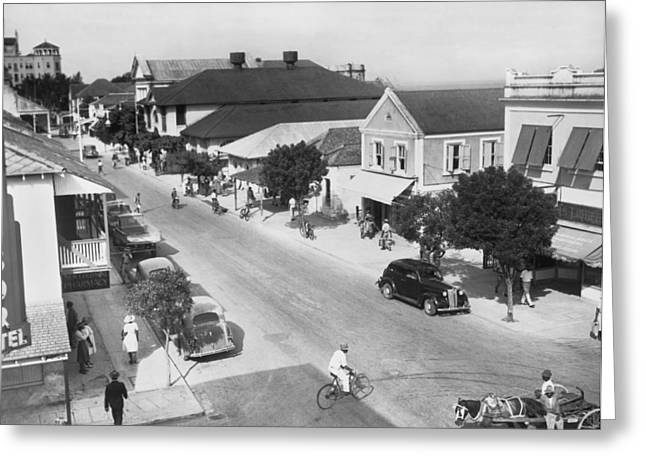 Bay Street In Nassau Greeting Card by Underwood Archives