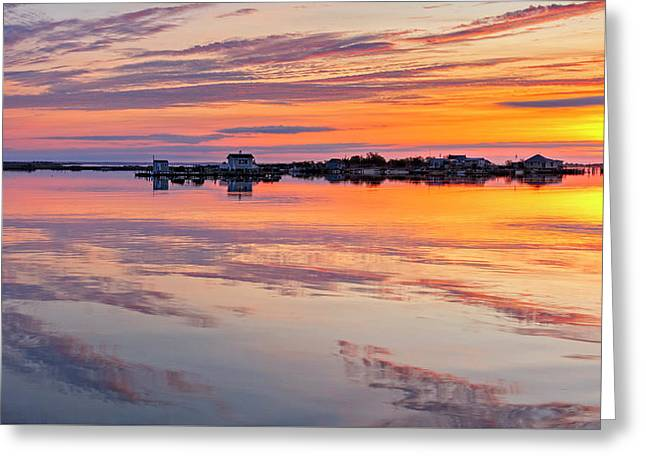 Bay Sunrise Greeting Card by Mike Lang