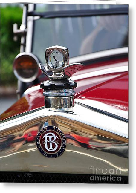 Collector Hood Ornament Greeting Cards - Bayliss Thomas Badge and Hood Ornament Greeting Card by Kaye Menner