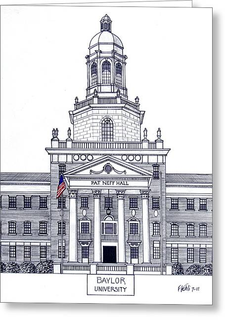 Famous University Buildings Drawings Greeting Cards - Baylor University Greeting Card by Frederic Kohli