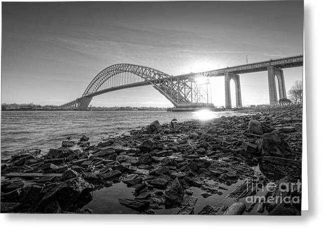 Bayonne Bridge Black And White Greeting Card by Michael Ver Sprill
