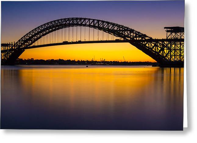 Bayonne Bridge Sundown Greeting Card by Susan Candelario