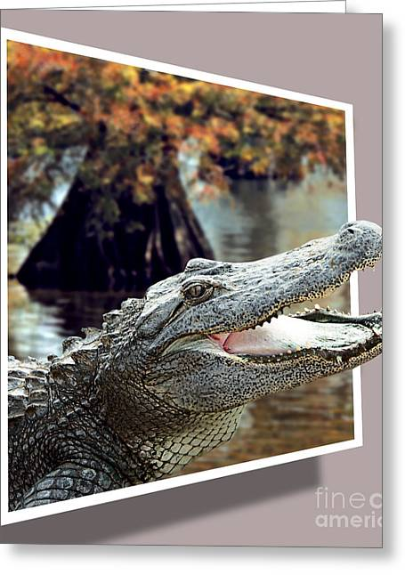 Dantzler Greeting Cards - Bayou Gator Greeting Card by Andrew Govan Dantzler