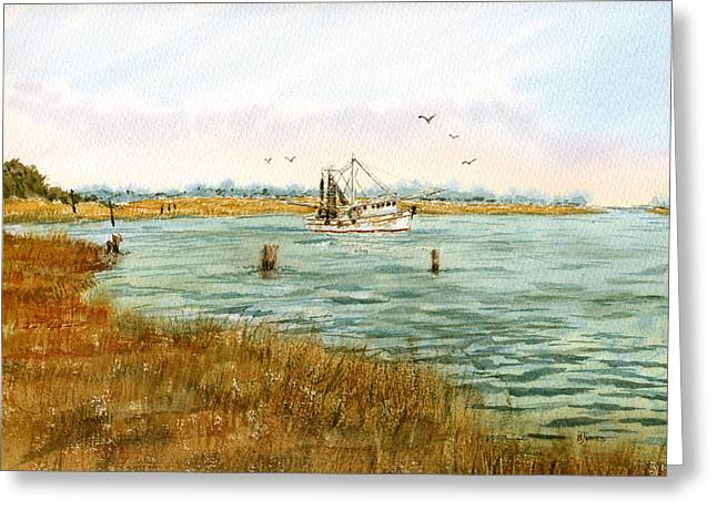 Transparent Drawings Greeting Cards - Bayou Shrimping Greeting Card by Barry Jones