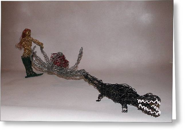 Mermaids Sculptures Greeting Cards - Bayou Water Ski Team Greeting Card by Charlene White