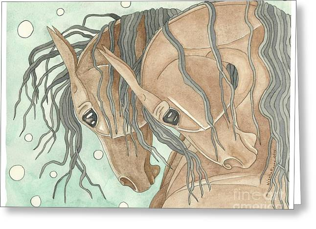 Quarter Horses Mixed Media Greeting Cards - Bays On Aqua Greeting Card by Suzanne Joyner