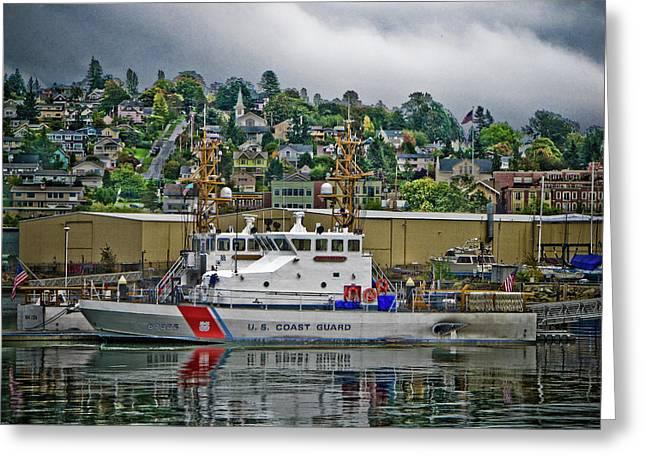 Coastguard Digital Greeting Cards - Bayside Watch Greeting Card by Rosemary McGahey