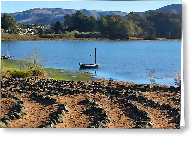 Baywood Park Labyrinth Greeting Card by Art Block Collections