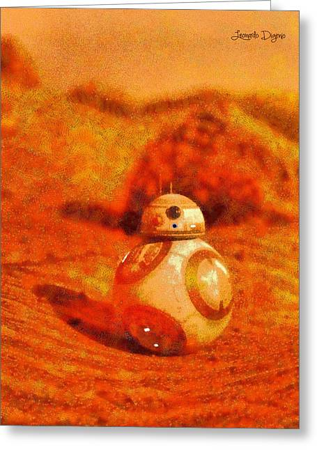 Bb-8 In The Desert - Pa Greeting Card by Leonardo Digenio