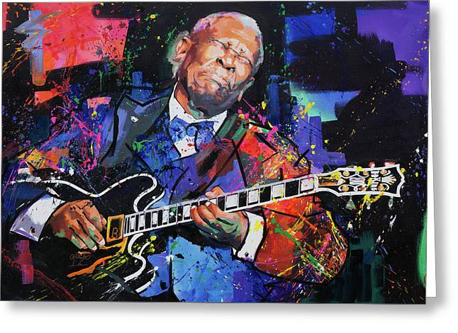 Live Art Greeting Cards - BB King Greeting Card by Richard Day