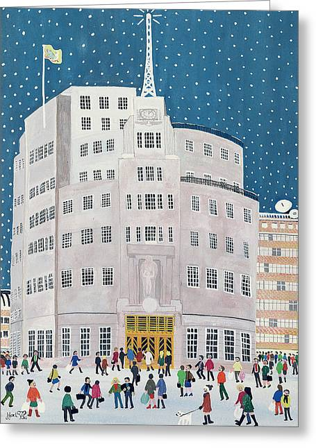 Snowy Evening Greeting Cards - BBCs Broadcasting House  Greeting Card by Judy Joel
