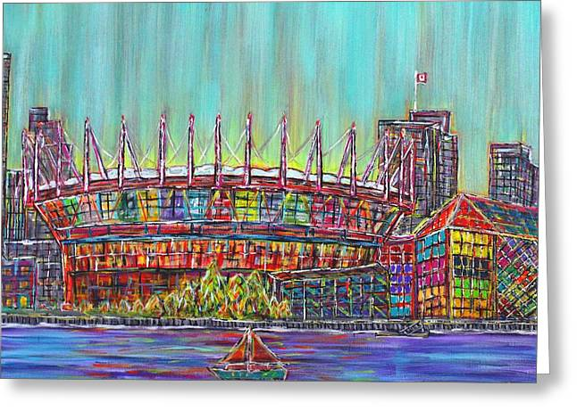 Bc Place, Vancouver, Alive In Color Greeting Card by Jeremy Aiyadurai