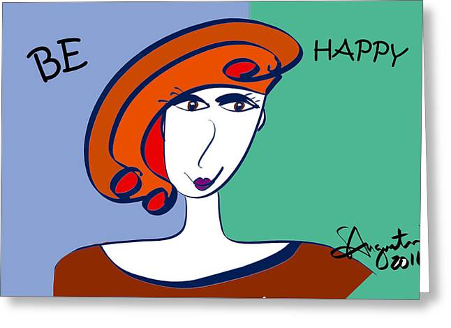 Be Attitudes - Be Happy Greeting Card by Sharon Augustin