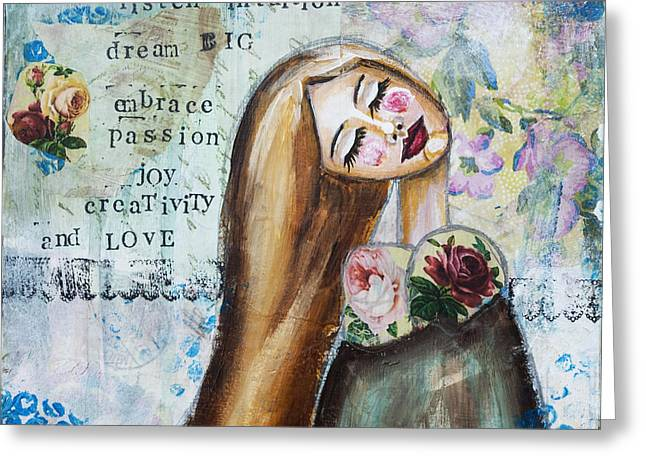 Be Brave Inspirational Mixed Media Folk Art Greeting Card by Stanka Vukelic
