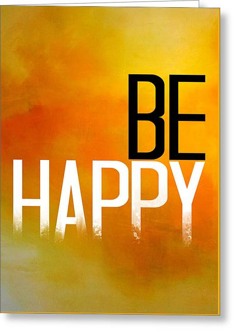 Wall Tapestries - Textiles Greeting Cards - Be Happy Poster  Greeting Card by BestCit Art