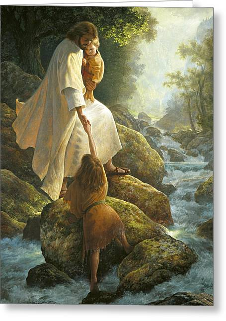 Rock Paintings Greeting Cards - Be Not Afraid Greeting Card by Greg Olsen