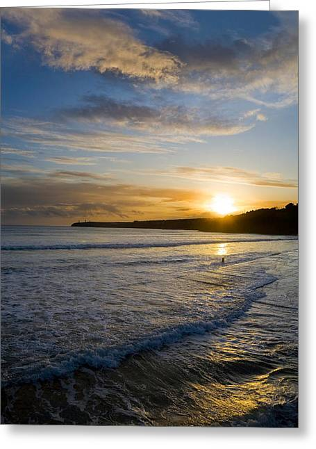 Sandy Beaches Greeting Cards - Beach & Great Newtown Head, Tramore Greeting Card by Panoramic Images