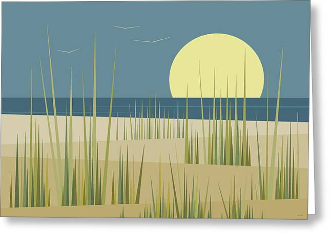 Beach Greeting Cards - Beach and Birds Greeting Card by Val Arie