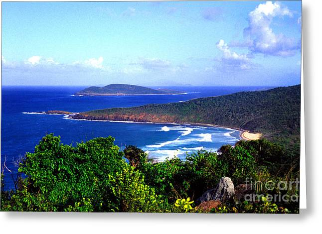 Culebra Greeting Cards - Beach and Cayo Norte from Mount Resaca Greeting Card by Thomas R Fletcher