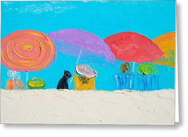 Summer Scene Greeting Cards - Beach Art - Soaking up the sun Greeting Card by Jan Matson