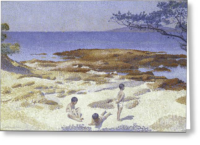 Beach At Cabasson Greeting Card by Henri-Edmond Cross