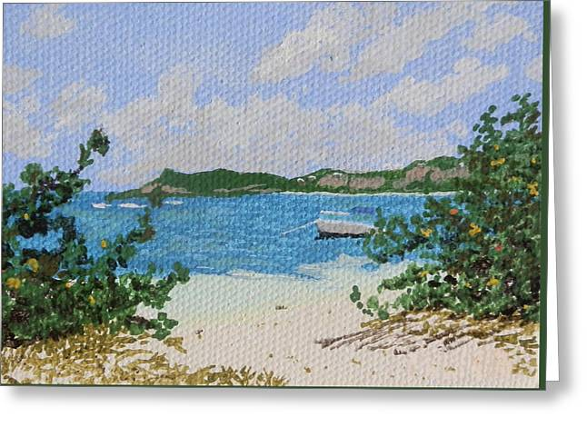 St Margaret Paintings Greeting Cards - Beach at Le Galion Greeting Card by Margaret Brooks