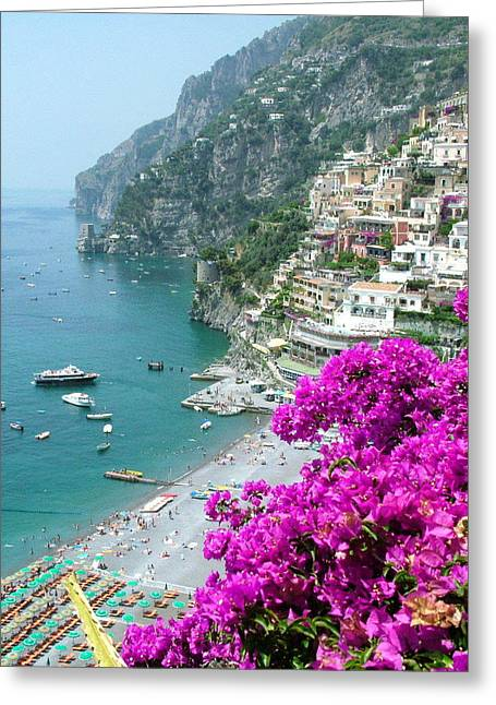 Positano Greeting Cards - Beach at Positano Greeting Card by Donna Corless