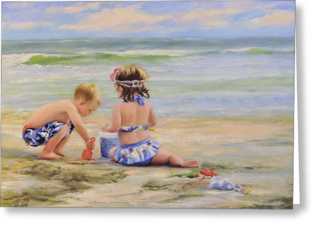 Child Toy Greeting Cards - Beach Babies and Toys Greeting Card by Katherine Tucker