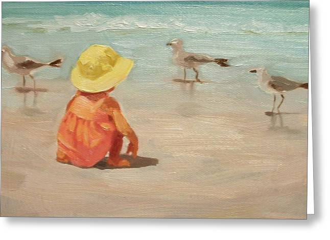 Sun Hat Greeting Cards - Beach Baby Greeting Card by Margaret Aycock