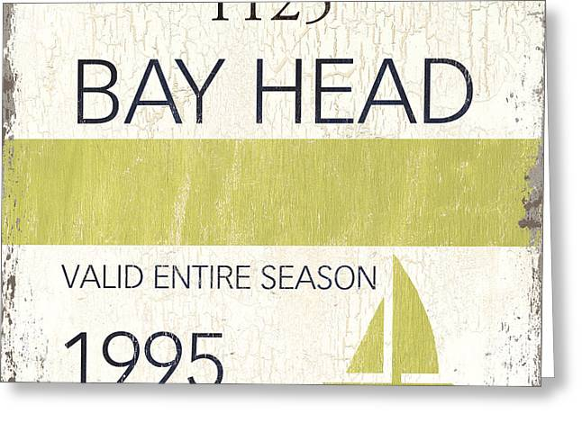 Badges Greeting Cards - Beach Badge Bay Head Greeting Card by Debbie DeWitt