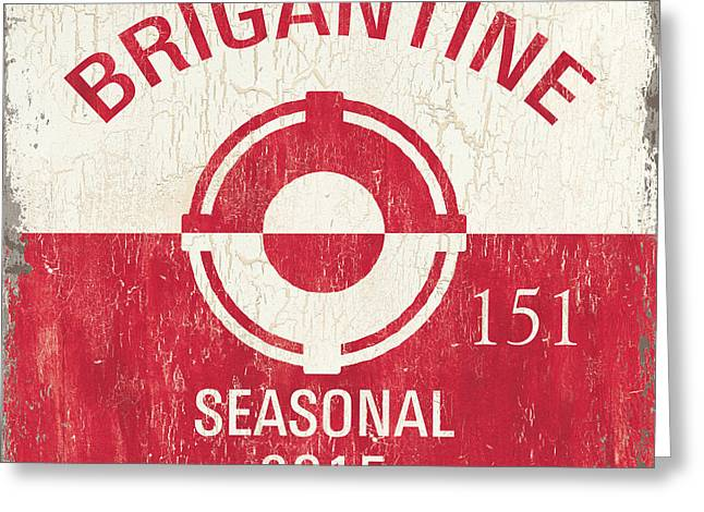 Device Greeting Cards - Beach Badge Brigantine Greeting Card by Debbie DeWitt