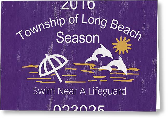 Beach Badge Long Beach Greeting Card by Debbie DeWitt