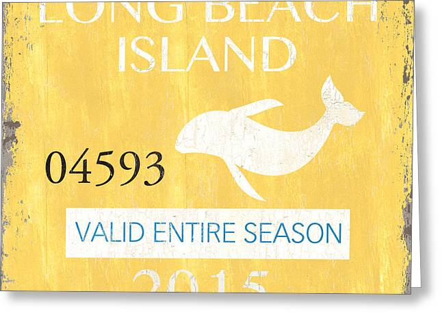 New Jersey Paintings Greeting Cards - Beach Badge Long Beach Island Greeting Card by Debbie DeWitt