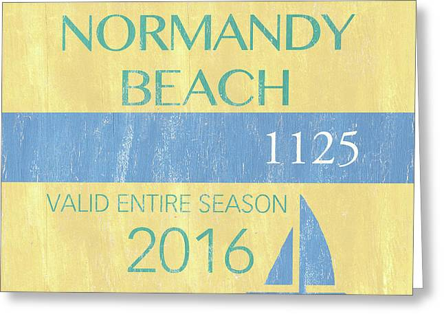 Beach Badge Normandy Beach 2 Greeting Card by Debbie DeWitt