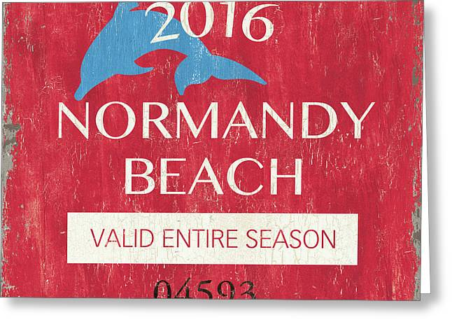 Beach Badge Normandy Beach Greeting Card by Debbie DeWitt