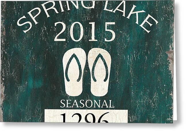 Sandals Greeting Cards - Beach Badge Spring Lake Greeting Card by Debbie DeWitt
