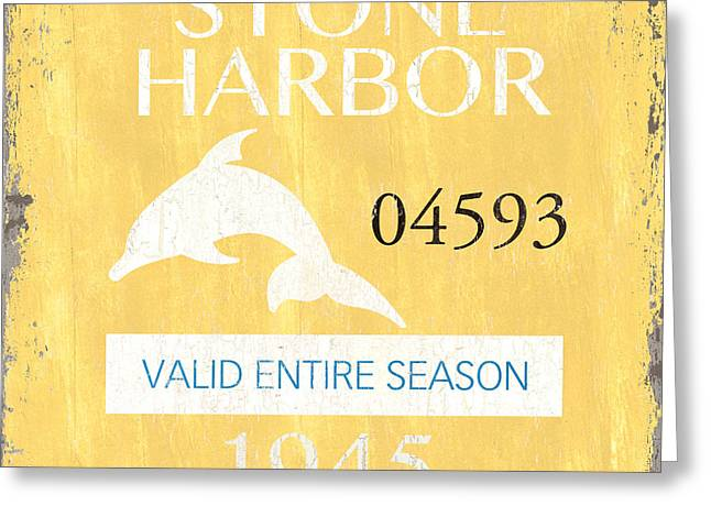 Beach Badge Stone Harbor Greeting Card by Debbie DeWitt