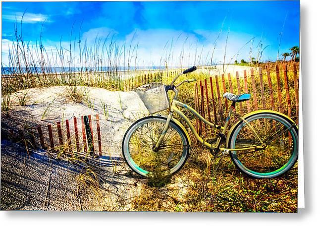 Foggy Ocean Greeting Cards - Beach Bike at the  Dunes Greeting Card by Debra and Dave Vanderlaan