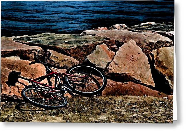 Maine Beach Digital Art Greeting Cards - Beach Bike Greeting Card by Tom Prendergast
