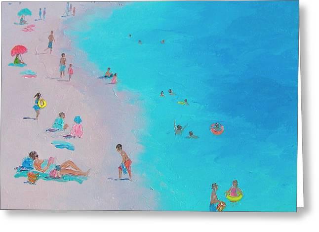 Children At Beach Greeting Cards - Beach Bliss Greeting Card by Jan Matson