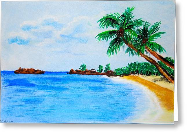 Ocean Shore Pastels Greeting Cards - Beach Greeting Card by Bogumila Johnson
