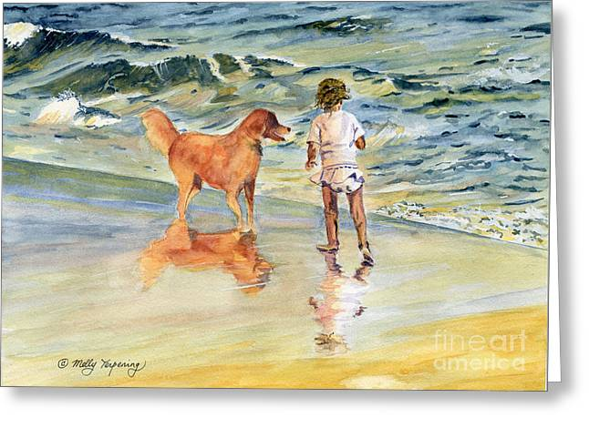 Puppies Paintings Greeting Cards - Beach Buddies Greeting Card by Melly Terpening