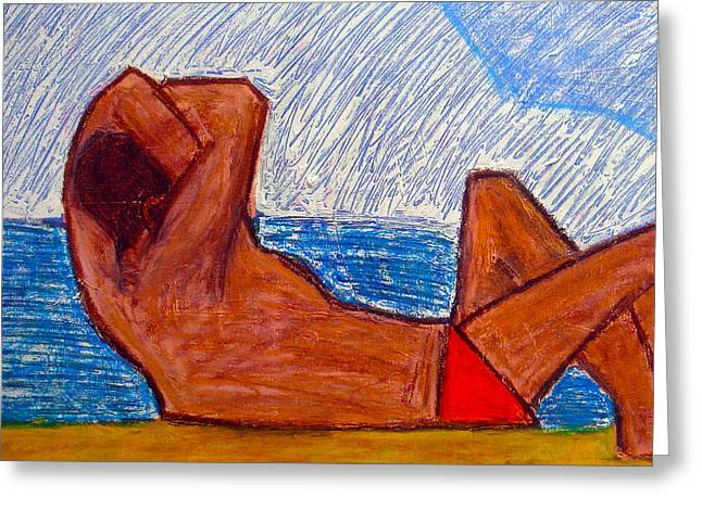Abstract Shapes Greeting Cards - Beach Bum Greeting Card by Kim Magee