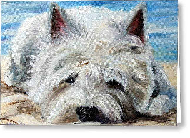 Dog Beach Print Greeting Cards - Beach Bum Greeting Card by Mary Sparrow
